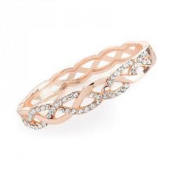Rose gold colour crystal hinge bangle. - (BA31720)