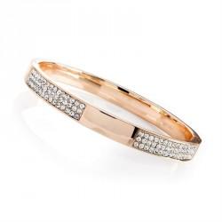 Bracelet - Rose gold colour crystal hinge bangle. -...