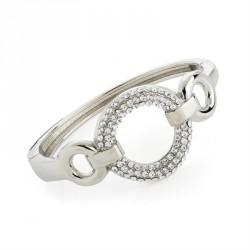 Rhodium colour crystal round design hinge bangle. - (BA31718)