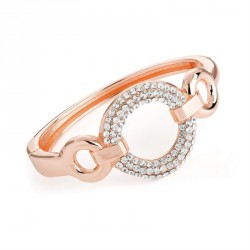 Rose gold colour crystal round design hinge bangle. - (BA31717)