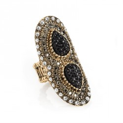 Light antique gold crystal hematite effect elasticated ring. - (R31709)