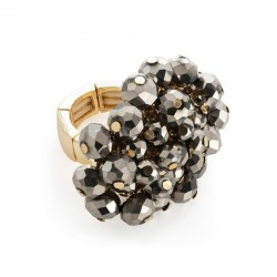 Gold colour hematite glass bead elasticated ring. - (R31705)