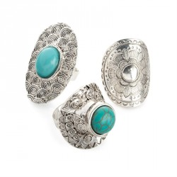 Three pairs antique silver and turquoise colour bead adjustable ring set. - (R31679)