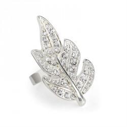 Ring - Silver colour crystal leaf design adjustable ring....