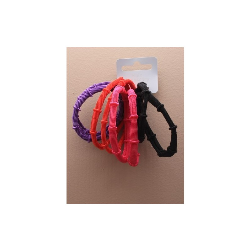 card of 8 bright coloured bamboo style endless elastics.