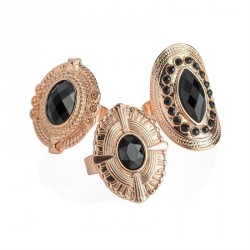 Ring set - Three piece rose gold colour and black bead...