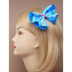 Hair Clip Bow - large spotted fabric ribbon bow on a forked clip. in pink/lilac/blue and fuchsia.