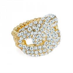 Ring - Gold colour crystal elasticated ring. - (R31612)