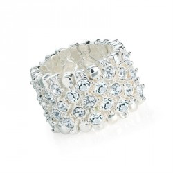 Ring - Silver colour crystal elasticated ring. - (R31606)