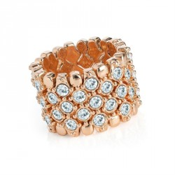 Ring - Rose gold colour crystal elasticated ring. - (R31605)