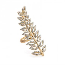 Ring - Gold colour crystal leaf design adjustable ring. -...