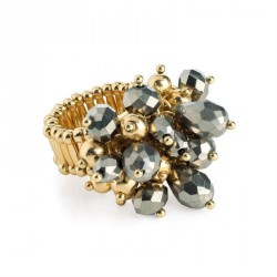 Ring - Gold and hematite colour glass bead cluster...