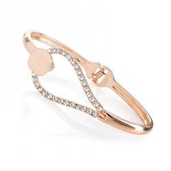 Rose gold colour crystal hinge bangle. - (BA31598)