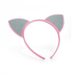 Pink and silver colour glitter effect headband. - (HA31578)