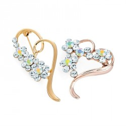 Two piece rose gold and gold colour crystal heart design brooch set. - (BR31573)