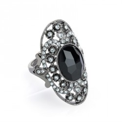 Ring - Hematite colour crystal and black glass bead oval...