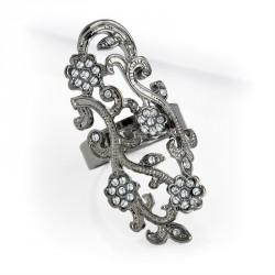 Ring - Hematite colour crystal flower design adjustable...