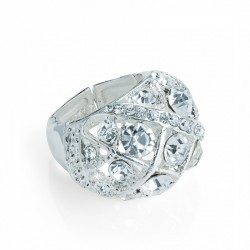 Ring - Silver colour oval shape elasticated ring. - (R31365)