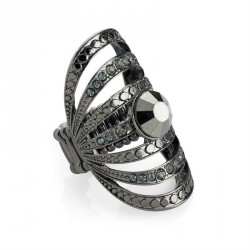 Ring - Hematite and black diamond colour crystal oval...
