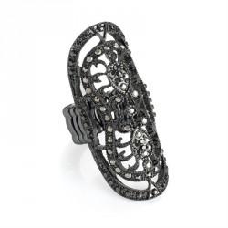 Ring - Hematite and black diamond colour oval elasticated...