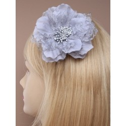 Hair Clip Flower - large lace and fabric flower on a silv fork clip