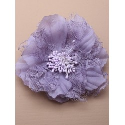 Hair Clip Flower - large lace and fabric flower on a silv...