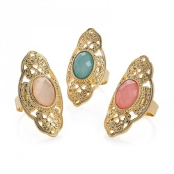 Ring set - Three piece gold colour green, pink and white...