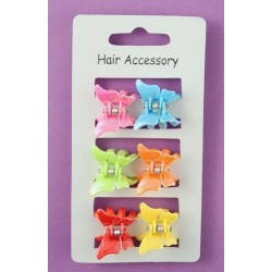 6 bright coloured plastic butterfly mini clamps