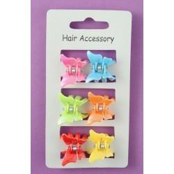 6 helle farbige Kunststoff Schmetterling Mini-Klemmen