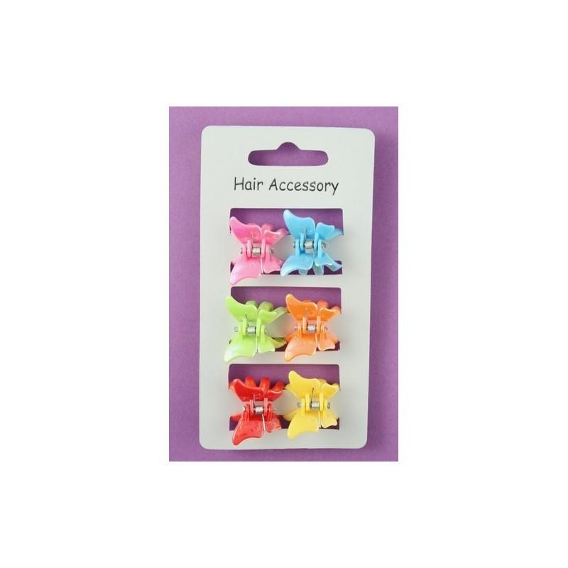 6 couleurs vives pinces en plastique papillon mini