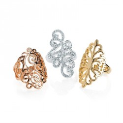 Ring set - Three piece silver, gold and rose gold colour...