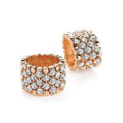 Ring - Rose gold colour crystal elasticated ring. - (R31086)