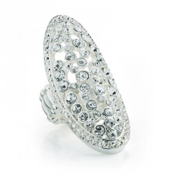 Ring - Silver colour crystal oval design elasticated...
