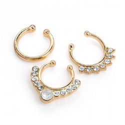 Three pieces gold colour Faux Septum rings. - (NW30938)