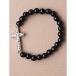 Roztáhnout korálkovou náramek s kovovou posázený diamanty stříbrný by kříž