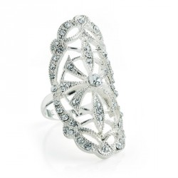Ring - Silver colour crystal adjustable ring. - (R30899)