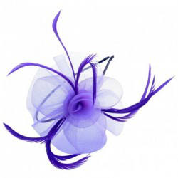Fascinator Headband Hair Band  - Looped net and feather with centre detail headband alice band fascinator