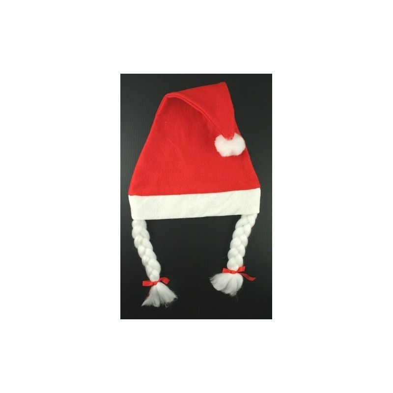 red christmas santa hat with plaits.