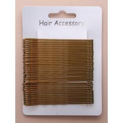 Kirby Hair Grips - 36 brown 65mm waved hairpin hair grip slides