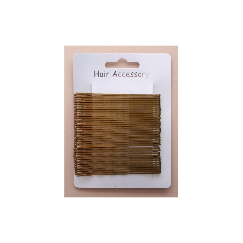 Kirby Hair Grips - 36 brown 65mm waved hairpin hair grip slides