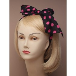 spotty print chiffon fabric hair tie bandeaux. in navy/black/red an dpink with white spot and black with pi...