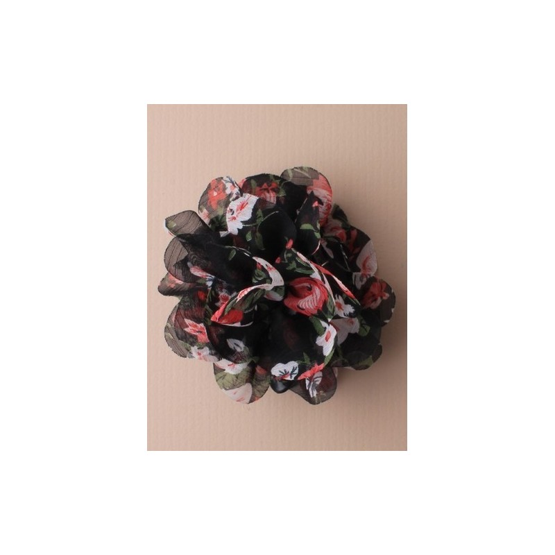 chiffon floral print fabric ruffle clamp. in cream/blue/purple/black/pink and brown prints.