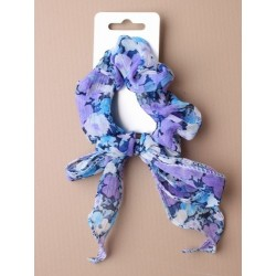 Hair Scrunchie - chiffon floral printed fabric bow scrunchie. in blue/purple/pink and yellow.